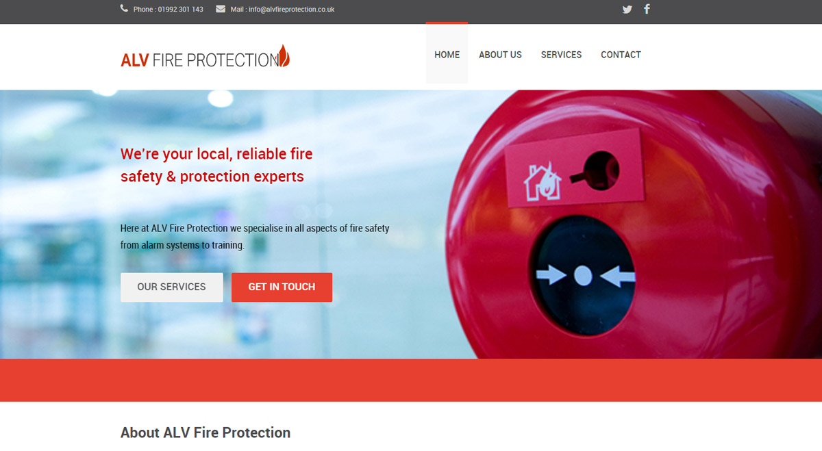 ALV Fire Protection website screen shot